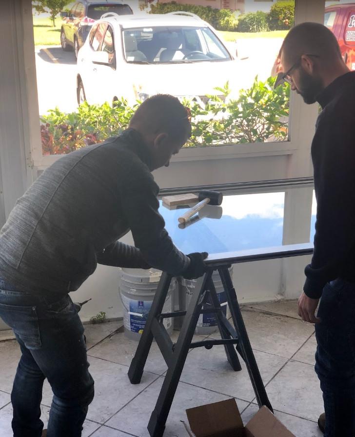sliding door broken glass repair
